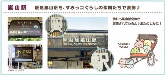 阪急嵐山駅がすみっコのキャラで装飾